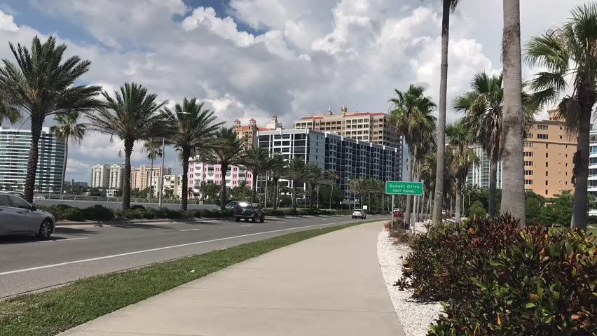 Ringling Bridge and Sarasota Downtown, Florida