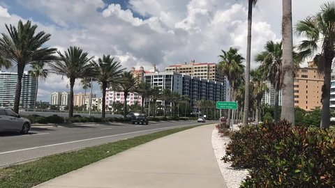 Timelapse of Ringling Bridge and Sarasota Downtown, Sarasota, Florida