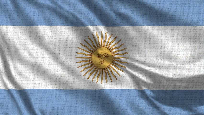 Argentina Flag Loop - Realistic 4K - 60 fps flag of the Argentina waving in the wind. Seamless loop with highly detailed fabric texture. Loop ready in 4k resolution.