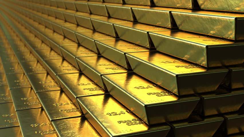Stairs made of gold bars or bullions, loopable animation. Success or getting rich concepts