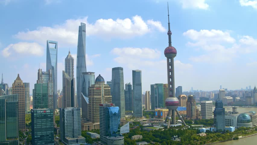 Aerial view of lujiazui in shanghai,pu dong drone footage. | Shutterstock HD Video #1013131040