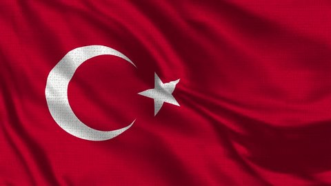 Turkey Turkish Flag Loop - Realistic 4K - 60 fps flag of the Turkish - Turkey waving in the wind. Seamless loop with highly detailed fabric texture. Loop ready in 4k resolution