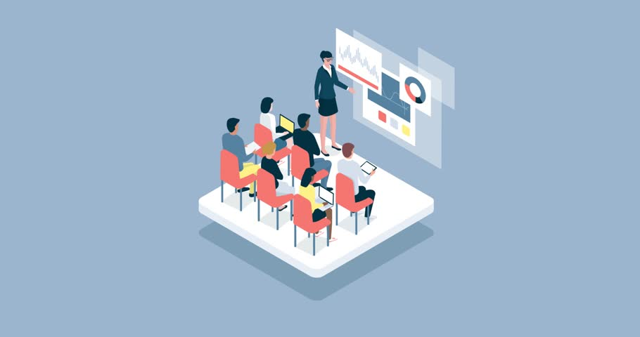 Business people and academic students attending a seminar, a woman is talking and pointing to a virtual whiteboard with charts | Shutterstock HD Video #1013155490