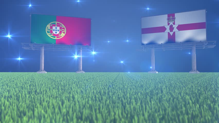 3d animated soccer ball bouncing in front of billboards with the flags of Portugal and Northern Ireland with flickering lights in the background in 4K resolution