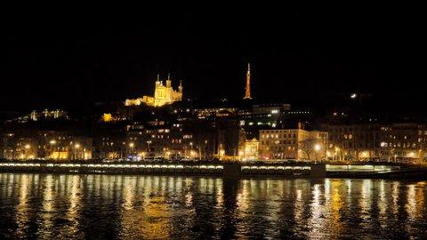 lyon city notre dame basilica hyperlapse at night