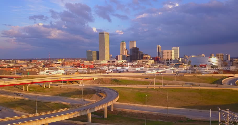 Drone footage of Tulsa, Oklahoma skyline from the west looking east.