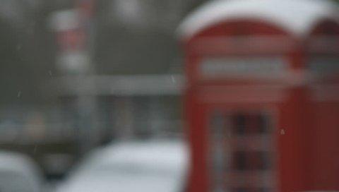 london telephone box snow winter