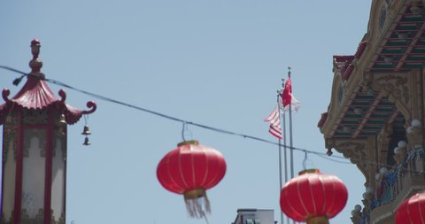 day Shot holds Chinese lanterns, US Flag Chinese Flag(San Francisco,1/8/18)