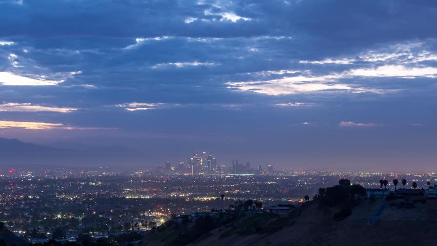 Downtown Los Angeles Skyline Sunrise Timelapse   Shutterstock HD Video #1013473640