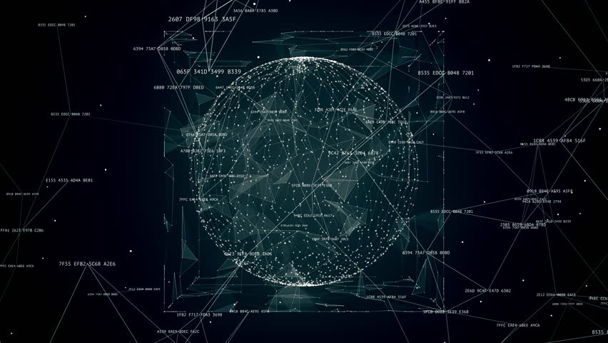 abstract tech background animation, rotating object in the sphere #1013485910