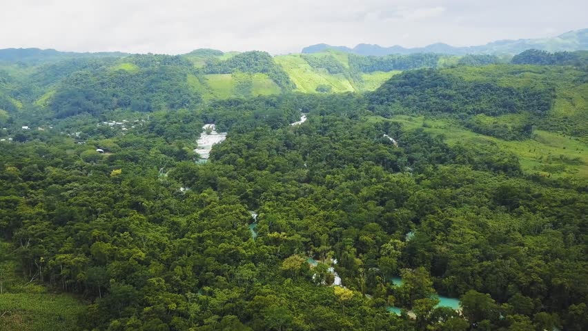 Flight over Agua Azul waterfalls in Chiapas Mexico