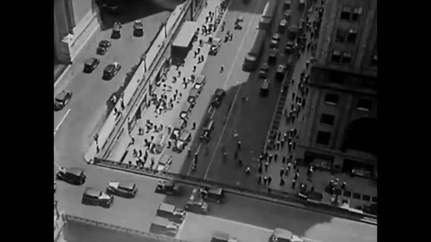 CIRCA 1931 - Elevated train tracks and Grand Central Station are shown in New York City.