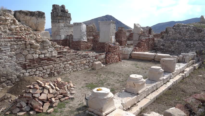 Antalya region, Turkey - 8th of July 2018: 4K Sagalassos ancient city tour - Ruins of old bath hamam in Sagalassos