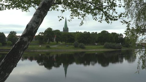 nidaros cathedral church trondheim norway distant view river nidelven in foreground