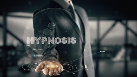 Hypnosis with hologram businessman concept