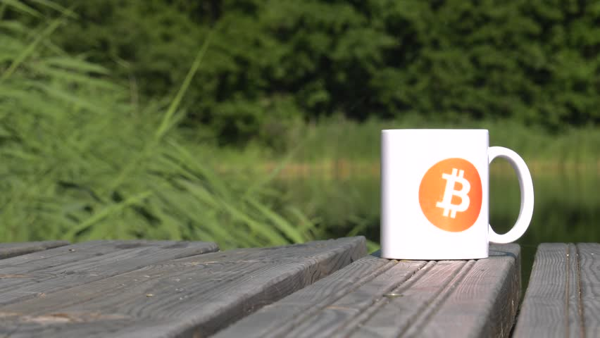 Calmness, Quiet, Safe haven. BTC coin as symbol of electronic virtual money for web banking and international network payment. White cup on the lake. Water and Trees. 4K, UHD. | Shutterstock HD Video #1013582450
