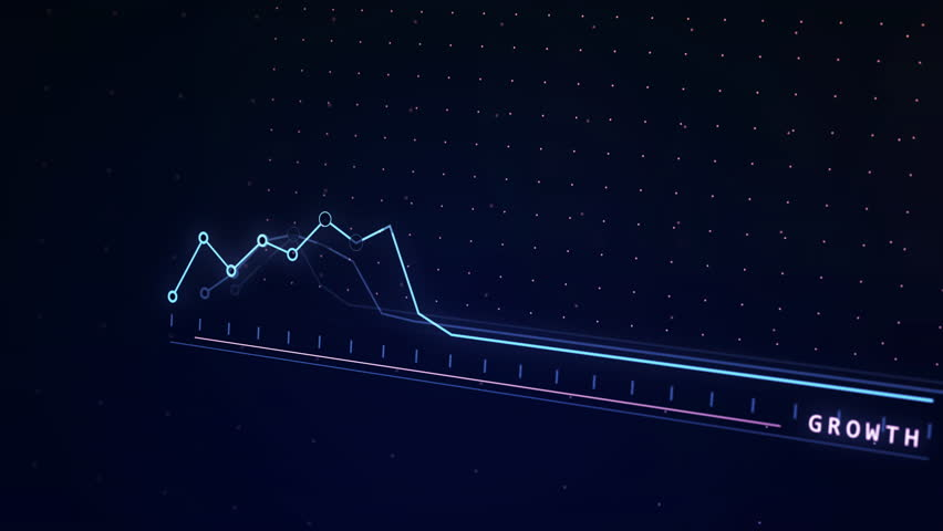 3D shaded linear graph animation showing growth and positive trends. 4k 3D animation. Animated graph.