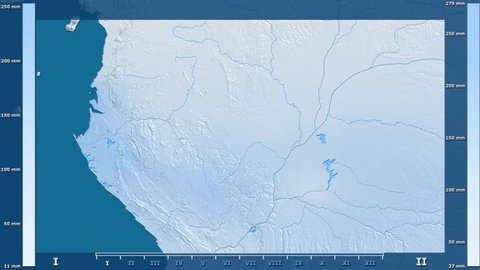 Precipitation by month in the Congo Brazzaville area with animated legend - raw color shader. Stereographic projection