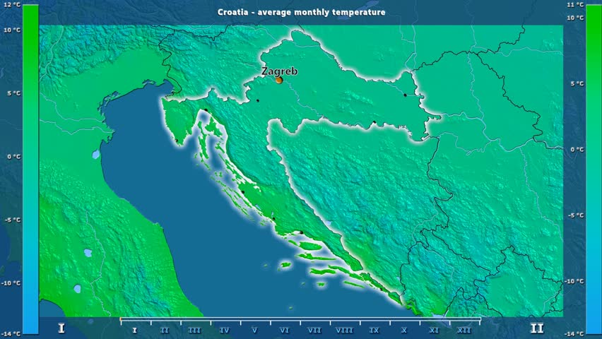 Average temperature by month in the Croatia area with animated legend - English labels: country and capital names, map description. Stereographic projection
