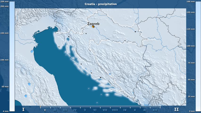 Precipitation by month in the Croatia area with animated legend - English labels: country and capital names, map description. Stereographic projection