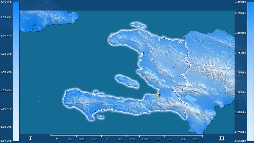 Water vapor pressure by month in the Haiti area with animated legend - glowing shape, administrative borders, main cities, capital. Stereographic projection