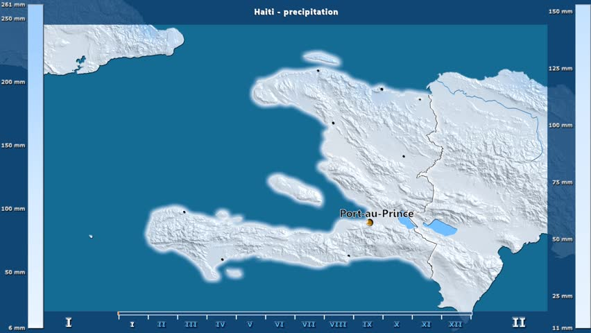 Precipitation by month in the Haiti area with animated legend - English labels: country and capital names, map description. Stereographic projection