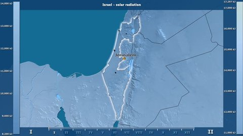 Solar radiation by month in the Israel area with animated legend - English labels: country and capital names, map description. Stereographic projection