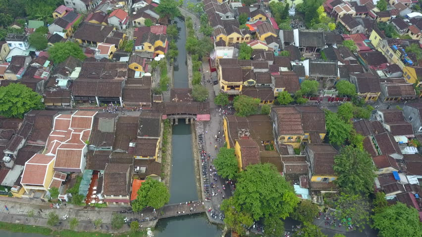 Hoi An, Vietnam : Panorama Aerial view of Hoi An ancient town, UNESCO world heritage, at Quang Nam province. Vietnam. Hoi An is one of the most popular destinations in Vietnam