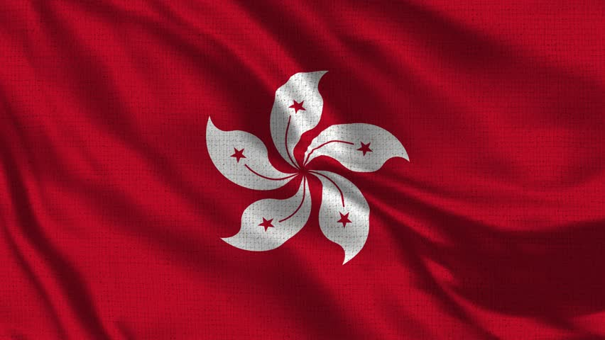 Hong Kong Flag Loop - Realistic 4K - 60 fps flag of the Hong Kong waving in the wind. Seamless loop with highly detailed fabric texture. Loop ready in 4k resolution
