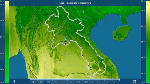 Maximum temperature by month in the Laos area with animated legend - English labels: country and capital names, map description. Stereographic projection