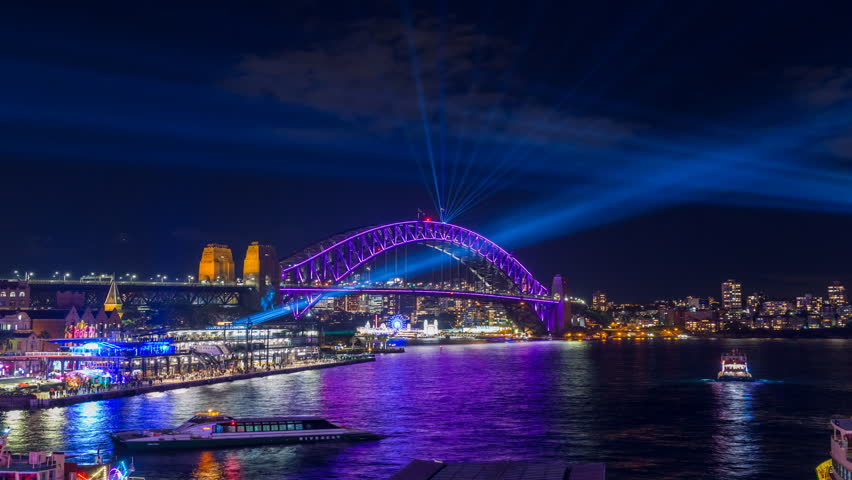 Sydney Harbour Bridge during Vivid Sydney Festival - timelapse video of the Spectacular light show and reflection around the Sydney Harbour Bridge