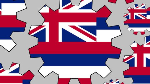 Hawaii flag gears rotating background zooming out