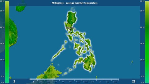 Average temperature by month in the Philippines area with animated legend - English labels: country and capital names, map description. Stereographic projection