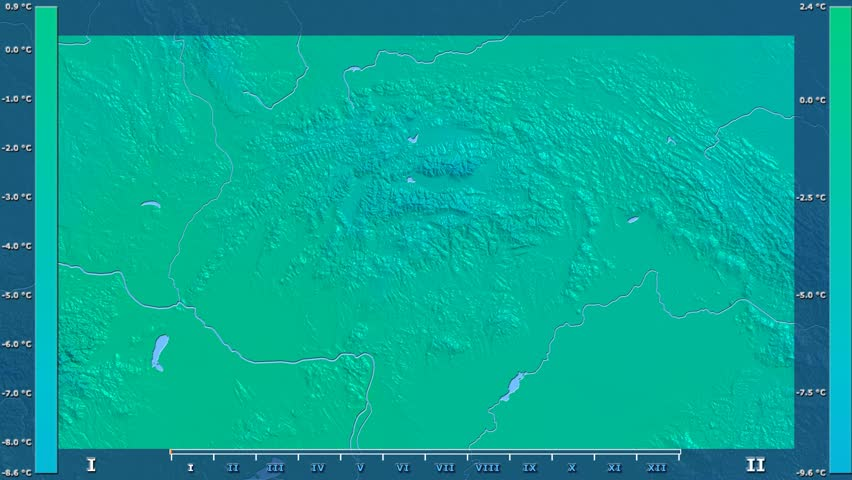 Average temperature by month in the Slovakia area with animated legend - raw color shader. Stereographic projection | Shutterstock HD Video #1013660090
