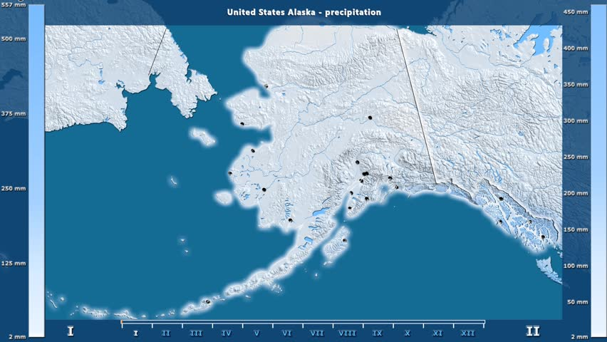 Precipitation by month in the United States Alaska area with animated legend - English labels: country and capital names, map description. Stereographic projection