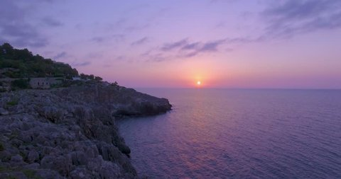 Italy July 2018, aerial view whit drone DJI.Sunrise on the sea and on the cliffs of Salento near Santa Maria di Leuca, in the Puglia region, in the province of Lecce