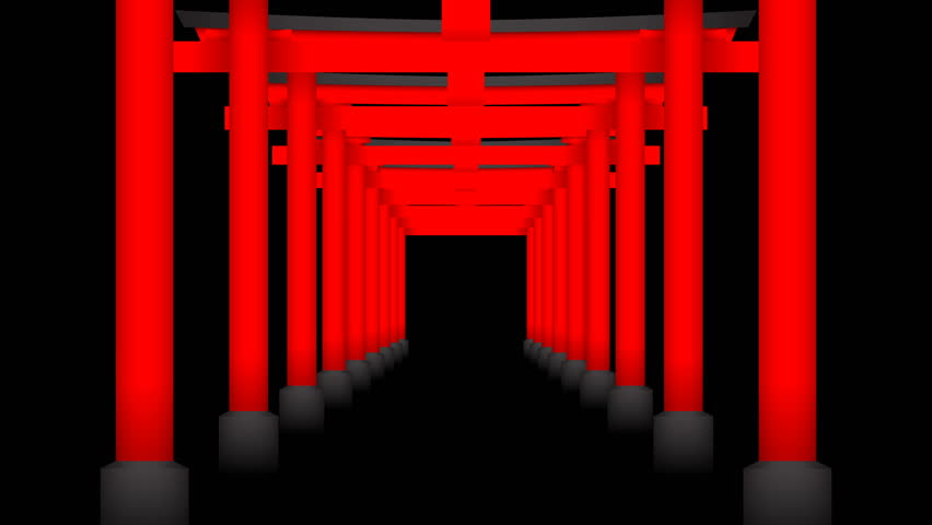 Japanese Torii perspective 3D virtual red color moving layer on black background, seamless looping animation 4K with copy space