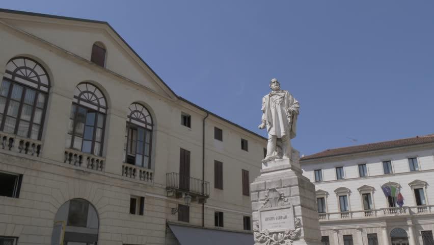 View of Giuseppe Garibaldi Monument in Piazza del Castello, Vicenza, Veneto, Italy, Europe
