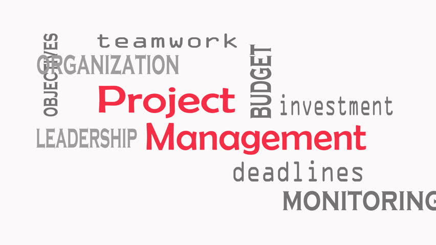 Footage Project Management word cloud concept on white background.