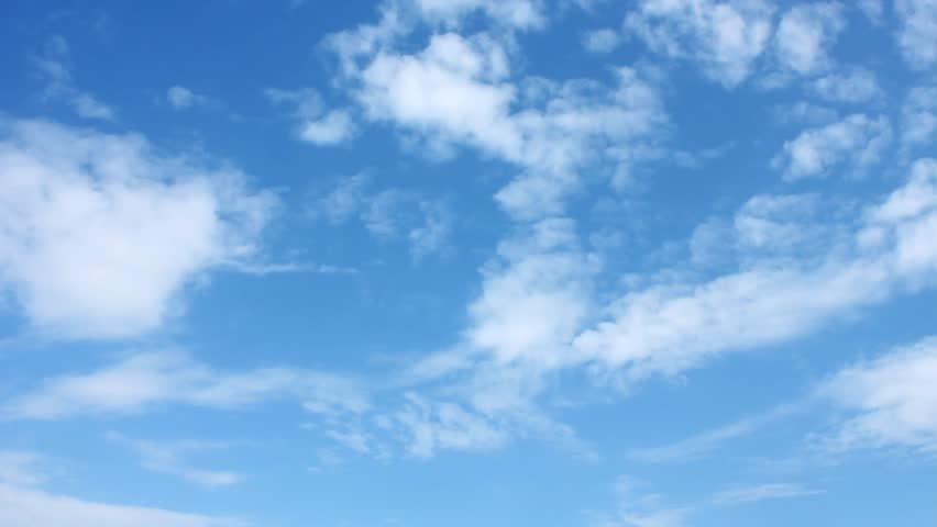 Sunny blue sky, nature white clouds. Beautiful colours in horizon. Time lapse.