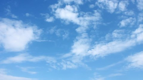 Sunny blue sky, nature white clouds. Beautiful cloud flying in blue sky, timelapse.