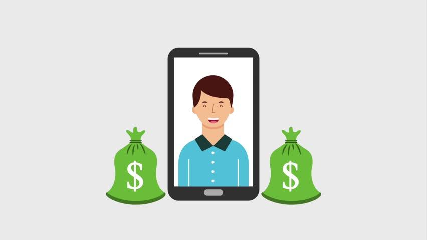 Smartphone man and money bags dollar   Shutterstock HD Video #1013792180