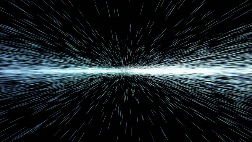 Abstract hyperspace, moving blue lights. Continuously approaching and gradually accelerating.
