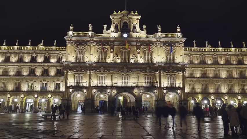 Plaza Mayor (Main Plaza) in Salamanca, Spain is large plaza located in center of Salamanca, used as public square. It was built in traditional Spanish baroque style and is popular gathering area.