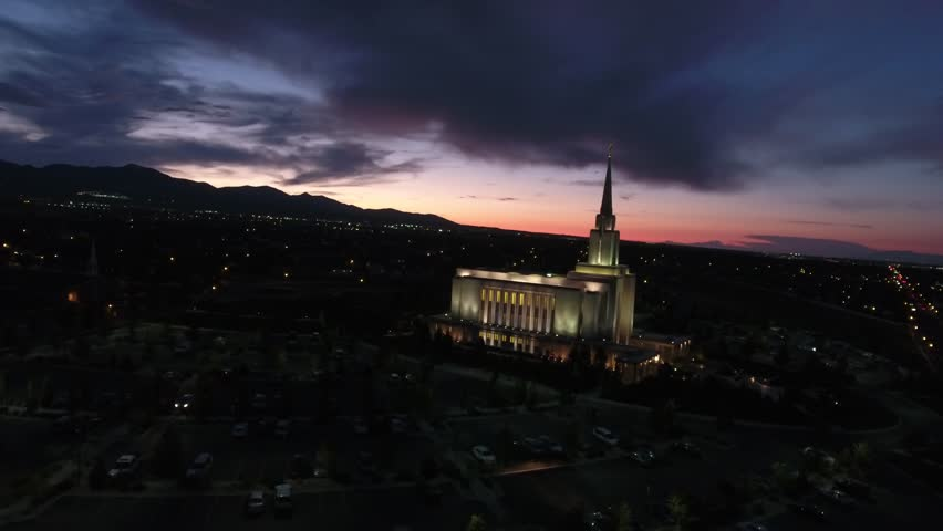 Aerial view of LDS Oquirrh Mountain Temple At Sunset