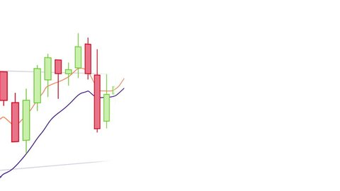 Candlestick Trading Chart Close-up on White Background