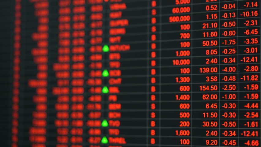 Economic crisis - Red stock market price board chart showing economic crisis of world stock. Bad economy and negative price down stock market situation. Traders are panic and selling their stock.   Shutterstock HD Video #1013835920