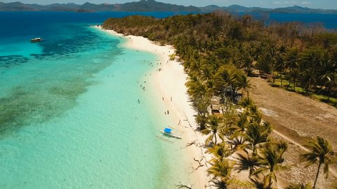 Aerial view of tropical beach on the island Malcapuya, Palawan, Philippines. Beautiful tropical island with sand beach, palm trees. Tropical landscape: beach with palm trees. Seascape: Ocean, sky, sea