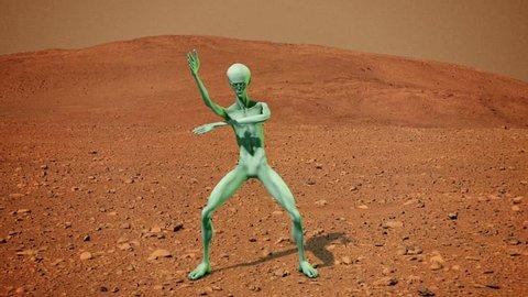 Howard the Alien Dances on Mars 3D Rendering Animation