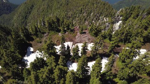 Unique Aerial 4k Tilting Drone Shot on the Summit of Cypress Mountain Revealing Howe Sound, Bowen Island and Vancouver Island on a Sunny, Blue Sky, Summer Day